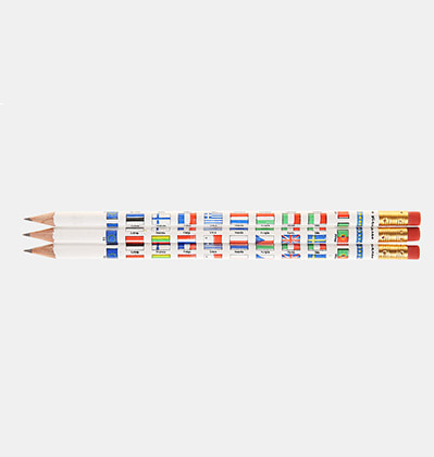 비아르쿠 국기 연필 Viarco Vintage Pencils Country Flags 3개 set