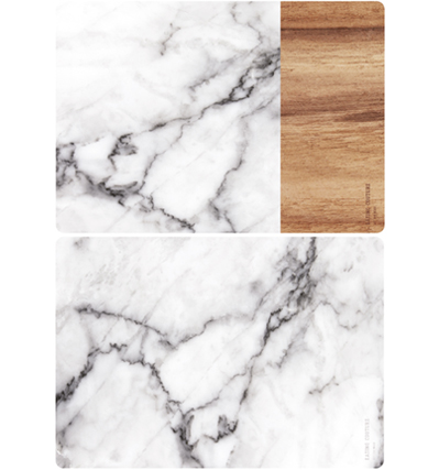 Eating Couture PP Table Mat - (Marble Grey&Wood, 양면)