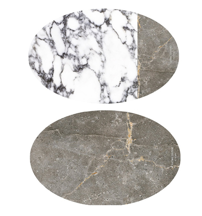 Eating Couture PP Table Mat Oval (Marble White&Grey, 양면)