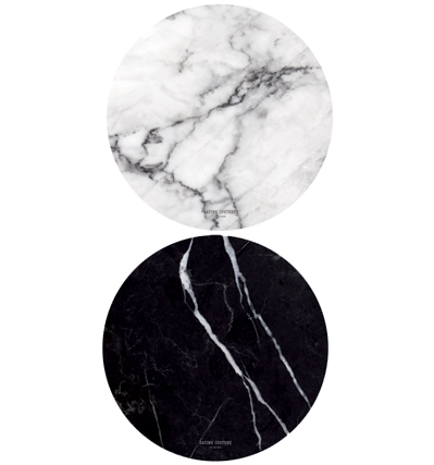 Marble Paper Placemat Round - Grey + Black